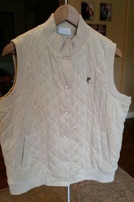 Ashworth Pebble Beach Collection Women's Button Up Quilted Vest - Cream - Size L