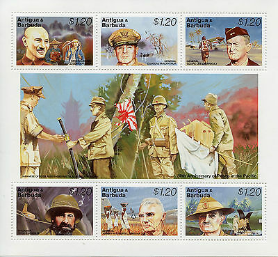 Antigua & Barbuda 1995 MNH WWII VJ Day 50 Peace Pacific 6v M/S MacArthur Stamps