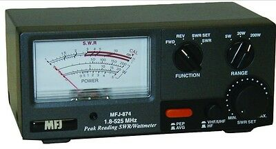 MFJ RF Power and SWR meter for 1.8-525Mhz - HF / VHF / UHF 200W