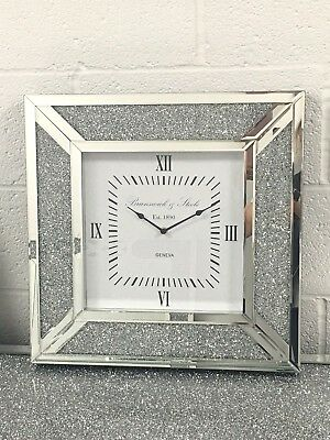 Sparkle Diamond Glitz Crushed Crystal Mirrored Glass Square Wall Clock 50x50cm