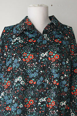 Vintage 1970s Black Floral Shirt with Butterfly Collar