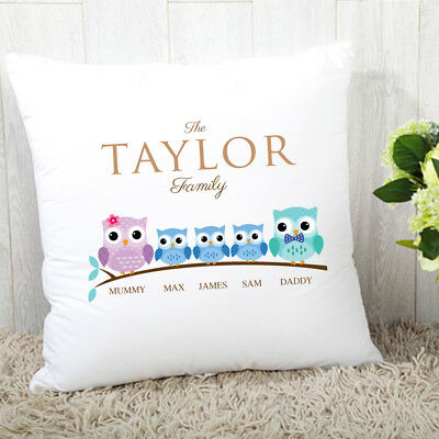 Gorgeous Homeware! Personalised Owl Cushion Family of 2 3 4 5 - Add ANY Names!