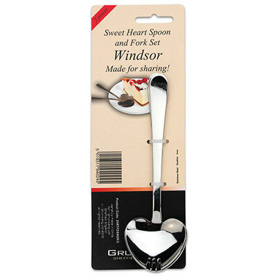 Grunwerg Windsor Set Of 2 Heart Dessert Spoon & Fork Set