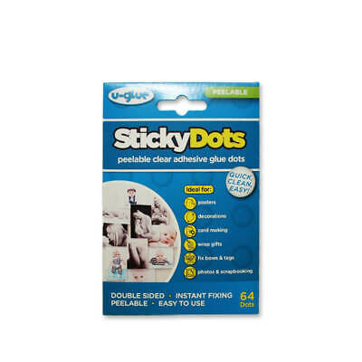 24 x U-Glue Sticky Dots Peelable Removable Adhesive Pack of 64 10mm dia 200101