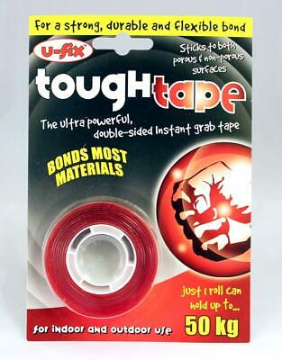 4 x U-Fix Tough Tape double sided instant grab ultra strong 19mm x 1mm x 1.5m