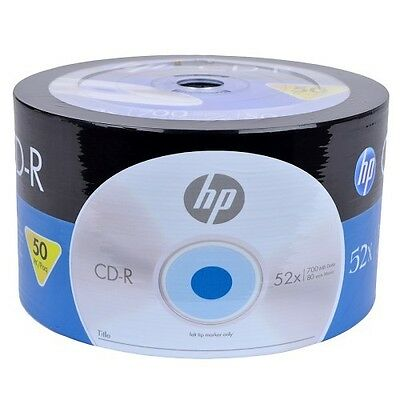 HP CD-R 52X Blank Media Recordable Discs 700MB CR00070B CDR 80 Minutes 10 50 100