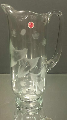 Vintage Crystal Pitcher Trillium Flower Made In Romania