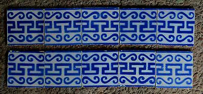 FRANCE ANTIQUE TILES - PAS DE CALAIS - DESVRES - 10-TILE SET c1870