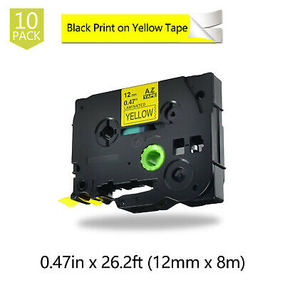 10PK Black on Yellow Label Tape For Brother TZ631 TZe-631 P-Touch PT-2730 12mm