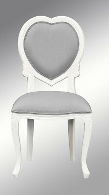 French Louis XV Medee Bedroom Chair  - White with grey twill upholstery