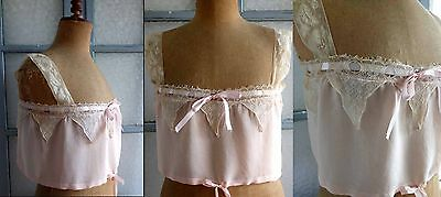 1910s SUPERB PINK SILK BRASSIERE CAMISOLE HUGE VALENCIENNES, FILET LACE & SILK