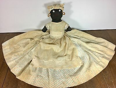 Mammy Doll Vtg Antique Black African Americana Aunt Jemima Folk Art Handmade 20""
