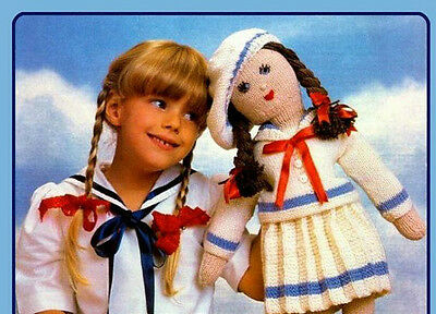 rag doll with sailor girls clothes toy vintage dk knitting pattern 99p