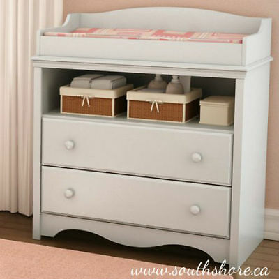 Changing Table with Drawers White Baby Furniture Nursery Sturdy New South Shore