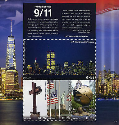 Ghana 2016 MNH Remembering 9/11 15th Memorial Ann M/S Statue of Liberty Stamps