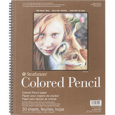 """Strathmore Colored Pencil Spiral Paper Pad 11""""X14"""" 30 Sheets 62477110"""