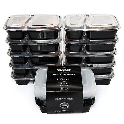 California Home Goods 2 Compartment Reusable Food Storage Containers with Lid...