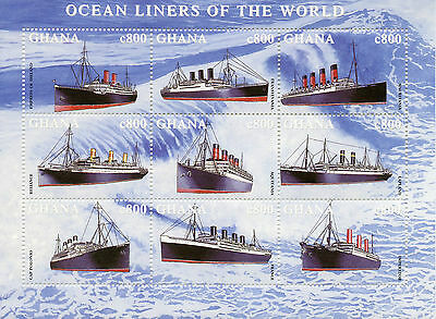 Ghana 1998 MNH Ocean Liners of World Ships 9v M/S I Boats Aquitania Stamps