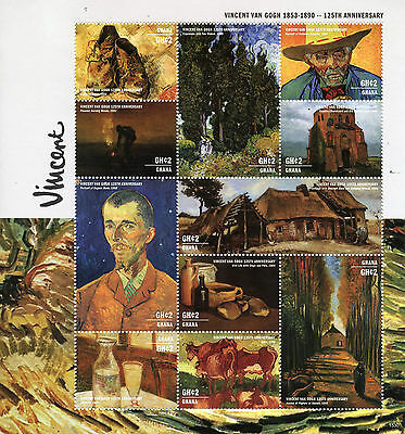 Ghana 2015 MNH Vincent Van Gogh 125th Memorial 11v M/S Eugene Boch Art Stamps