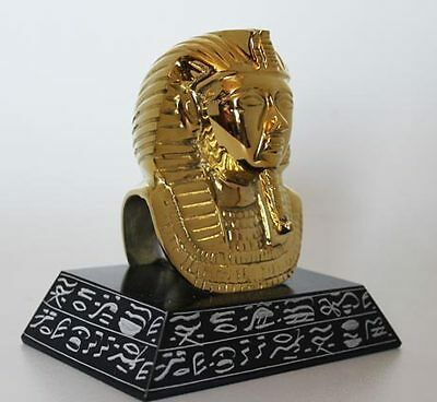"""5½"""" Egyptian Brass and Natural Stone Sculpture of King Tut + Hand Carved #246"""