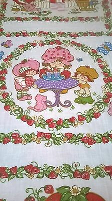 Strawberry Short Cake 1980 Single Flat Sheet Twin Bright Clean Sheet Girl Craft
