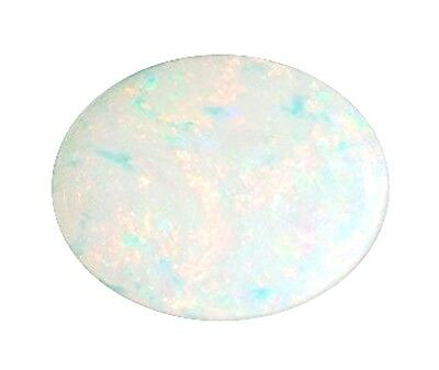 Natural Opal White + Flashes of Colour 6mm x 5mm Oval Cabochon Gem Gemstone