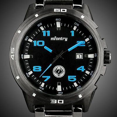 Infantry Mens Quartz Wrist Watch Date Luxury Army Sport Grey Stainless Steel