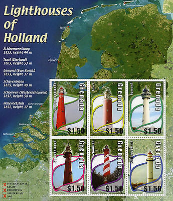 Grenada 2002 MNH Lighthouses of Holland 6v M/S Buildings Lighthouse Stamps