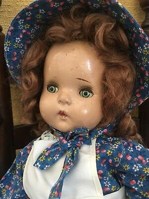 """Vintage Composition Jointed 19"""" Doll W/ Sleep Eyes & Lashes Needs TLC"""