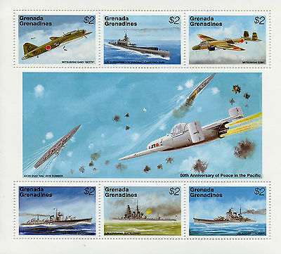 Grenadines Grenada 1995 MNH WWII VJ Day 50th Peace Pacific 6v M/S Planes Stamps