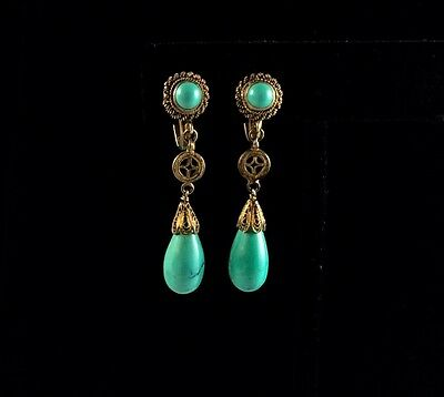 Vintage Chinese Export Turquoise Silver Gilt Earrings