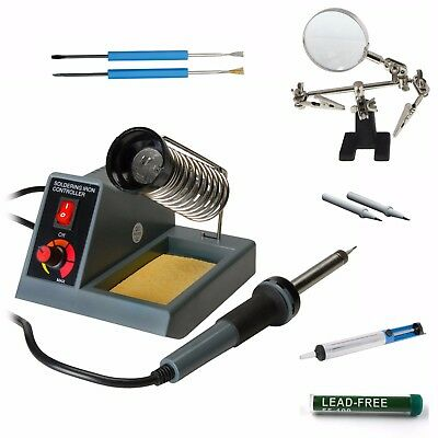 Variable Temperature Soldering Station, iron, gun with third hand, pump, solder