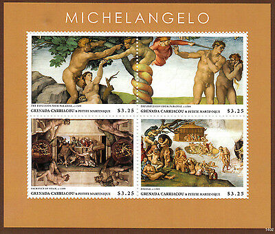 Grenada Grenadines 2014 MNH Michelangelo 4v M/S Art Paintings Paradise Stamps