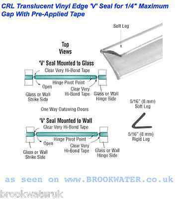 """2.49M Self Adhesive Shower Door Seal""""v""""shape Fix To Wall 8Mm High Projection"""