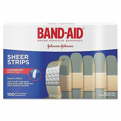 BAND-AID  Sheer Strips Adhesive Bandages 3/4x3 100 count