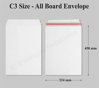 100 A3 Strong C3 White All Board Envelopes 457mm x 330mm Cheapest Quick Dispatch