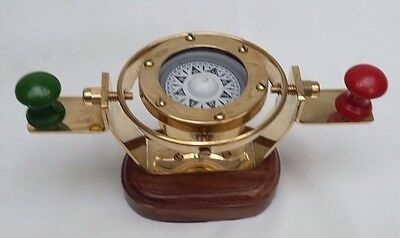 Nautical Marine Gimballed ship solid Brass Bridge compass on wooden Stand - Gift