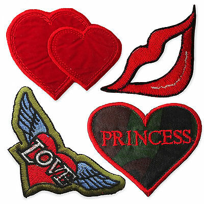 Cute Vintage Hearts Iron Sew on Appliques Patches Chic Lips Love Wings Princess