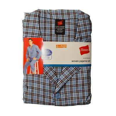 Hanes Men's Woven Pajamas Set Long Sleeve Shirt And Pants Patterned Blue Plaid