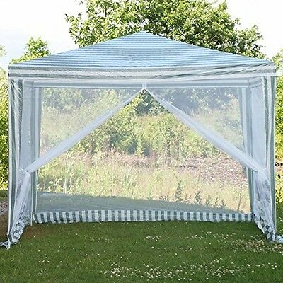 PE Outdoor Garden Gazebo Marquee Canopy Awning Party Wedding Tent Inc Fly Net