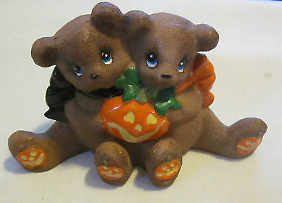 Ceramic Halloween Figurine of 2 Bears Holding a Pumpkin & Pumpkins on their Feet