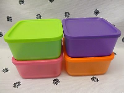 Tupperware 650ml Square Rounds Containers Set of 4 Pink Purple Green Orange New
