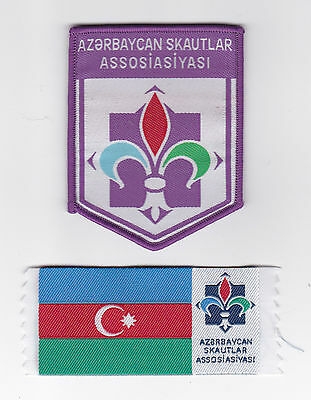 SCOUTS OF AZERBAIJAN - Scout Emblem Badge & National Flag Patch SET ~ NEW ISSUE