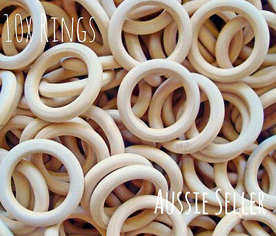 10x natural 40mm unfinished wood round rings jewellery teeth baby nursing wooden