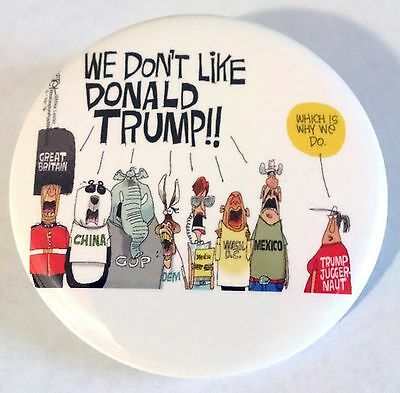 Donald Trump Country Cartoon Anti Campaign Pinback Button 2.25 2 1/4 Custom Post