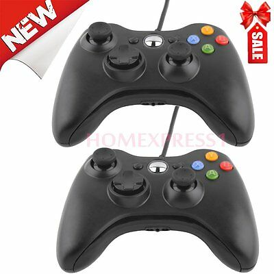 2X New Black Wired USB Game Pad Controller For Microsoft Xbox 360 PC Windows HL