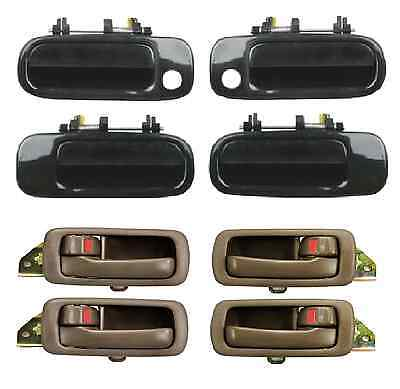 New 92-96 Camry Black Outside & Brown Inside Door Handles Right Left Front Back