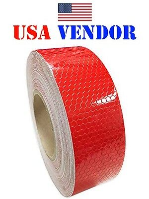 "2""x150' Red Honeycomb DOT-C2 Reflective Tape Safety Tape Caution Truck Trailer"