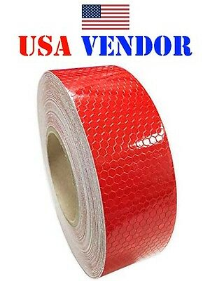 """2""""x150' Red Honeycomb DOT-C2 Reflective Tape Safety Caution Truck Trailer Sticky"""