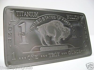 1 x TITANIUM BUFFALO BAR 1 Troy oz Ounce .999 Fine Collector Metal Bullion Ingot